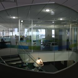 Glass Wall In Office Stairwell