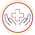 A vector image of a pair of hands holding a red cross.