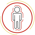A vector image of a person with a surrounding of qi energy.