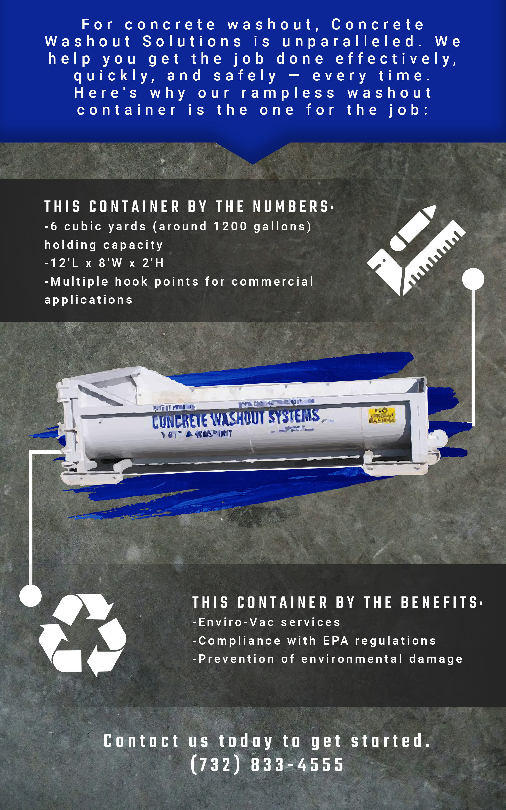 Infographic detailing the benefits of rampless washout containers.