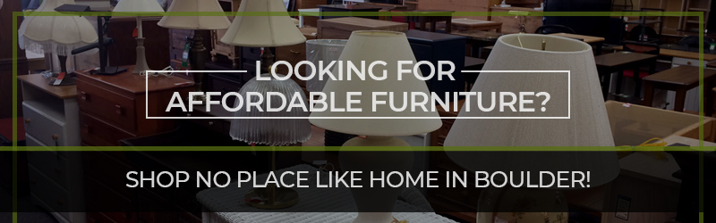 "Banner reading ""Looking for affordable furniture? Shop No Place Like Home in Boulder!"""