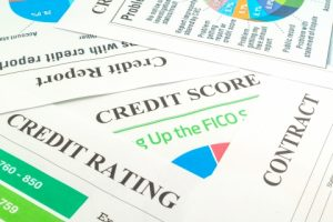 Image of various credit score documents.