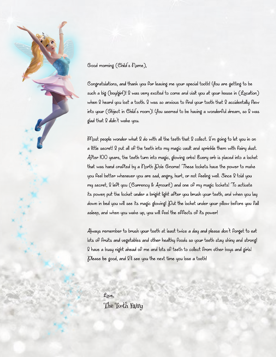 Letter from the tooth fairy template choice image for Fairy letters
