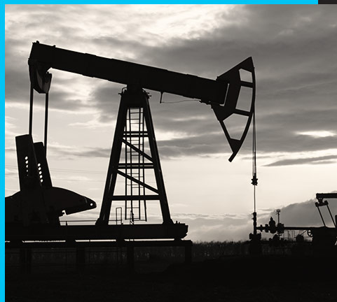 Image of an oil well in black and white
