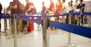 an image of a line at an airport