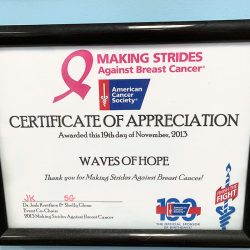 Certificate for Breast Cancer hanging on wall