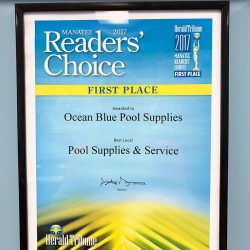 First-place plaque for Ocean Blue Pool Supplies
