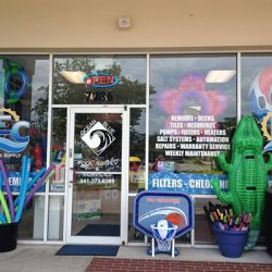 Ocean Blue retail store with pool noodles and basketball hoop