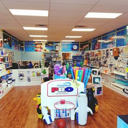 Pool supplies inside Ocean Blue retail store