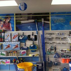 Pool cleaning supplies inside Ocean Blue store