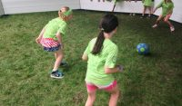 Race to the ball in a game of gaga ball.
