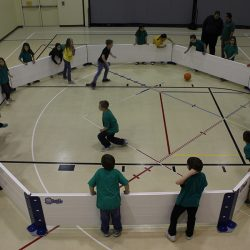 Children playing indoor game of Gaga Ball using Octopit