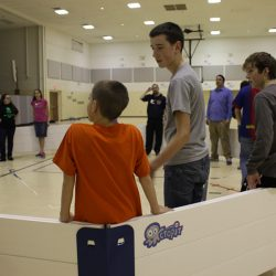 Kids playing gaga ball in Octopit indoors.