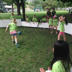 Kids having fun playing gaga ball with Octopit USA.