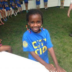 Little girl enjoying the Octopit USA gaga ball pit.