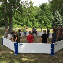 Kids outdoor playing octoball