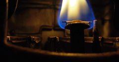 Pilot light on a gas water heater.