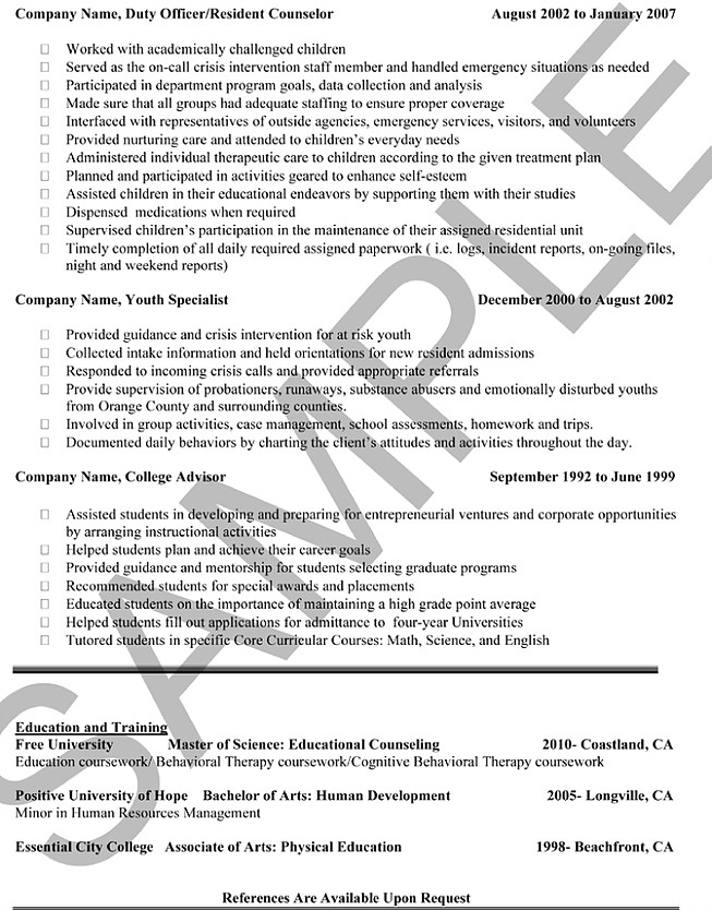 Sample Resumes | Outstanding Care Agency
