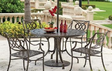 Shop Parr's for beautiful aluminum tables and chairs.