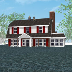 An image of a 3d rendered house about to get flooded.