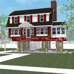 A 3d rendered house on a raised up foundation.