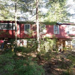 A red house in the woods raised with support beams - Payne Construction Services
