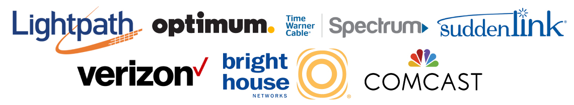 Premier Business Technology's Cable Television Partners (Lightpath; Optimum; Time Warner Cable; Spectrum; SuddenLink; Verizon; Bright House; Comcast logos)