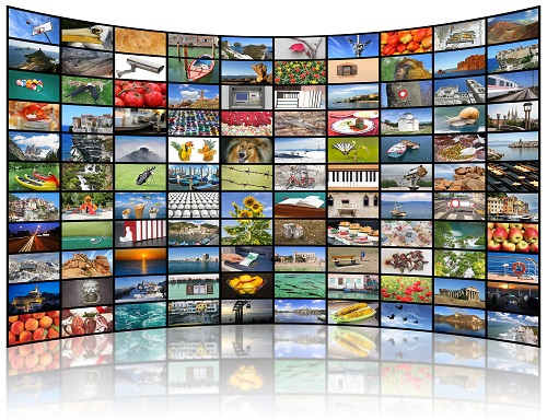 Montage of television screens using cable TV services