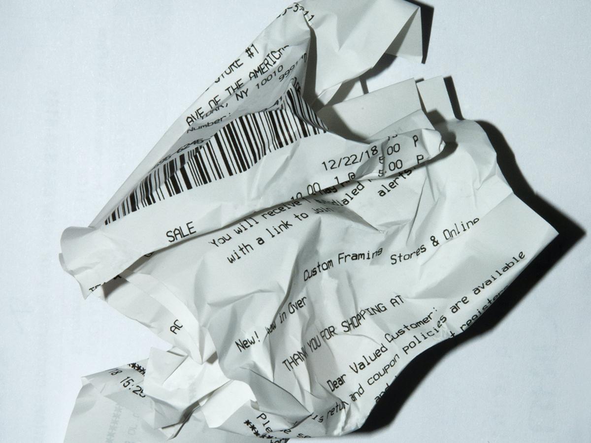 Crumpled up receipt.