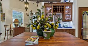 An image of a kitchen and island with a lemon plant and cookbooks.