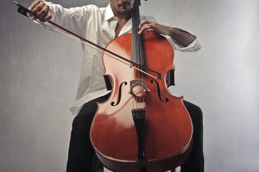 A cello being played.