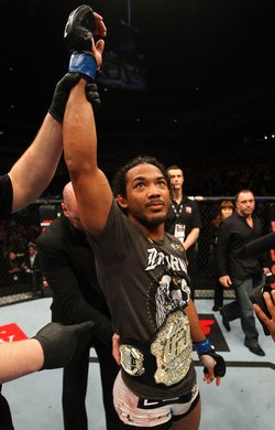 SAITAMA, JAPAN - FEBRUARY 26:  Benson Henderson reacts after defeating Frankie Edgar to win the UFC Lightweight Championship during the UFC 144 event at Saitama Super Arena on February 26, 2012 in Saitama, Japan.  (Photo by Al Bello/Zuffa LLC/Zuffa LLC via Getty Images) *** Local Caption *** Benson Henderson