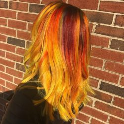 Women's Vibrant Haircolor - Red and Yellow