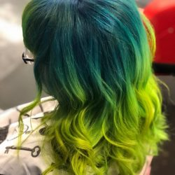 Women's Fantasy Haircolor - Teal and Lime Green
