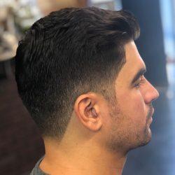 Mid-Fade Men's Haircut (Dark Brown) At Pinky's Chop Shop