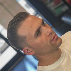 Men's Mid-Fade And Short Comb Over (Blonde) At Pinky's Chop Shop