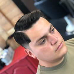 Comb Over Men's Hairstyle And Low Fade At Pinky's Chop Shop