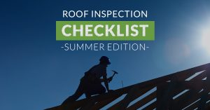 "Banner of roofers on house with text ""Roof inspection checklist"""