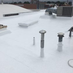Final product of freshly coated commercial rooftop