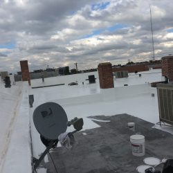 Coating is applied to flat commercial roof