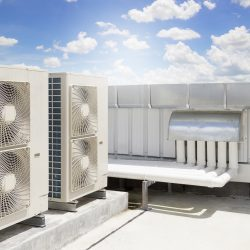HVAC equipment on top of commercial building