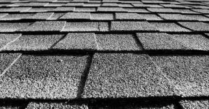 Up-close angle of grey roof shingles
