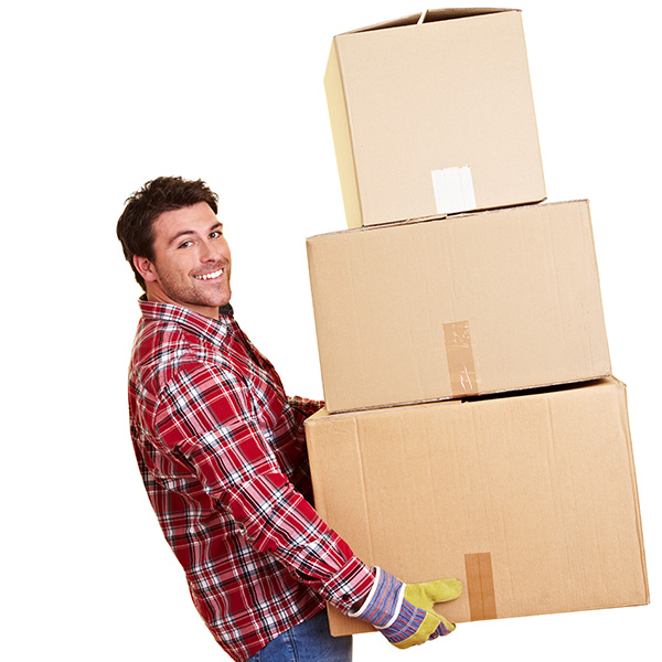Image of a man carrying three moving boxes