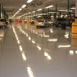 Auto repair shop with glossy epoxy flooring