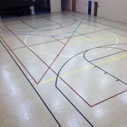 Epoxy gym floor with colorful lines