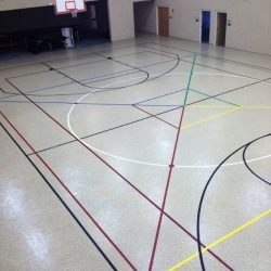 Gym with colorful lines and epoxy floors