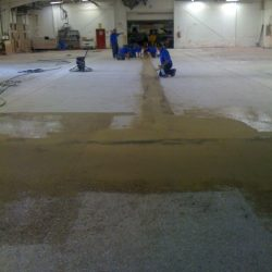 Construction site for epoxy urethane concrete flooring installation