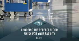 Glossy epoxy flooring with blue rolling carts