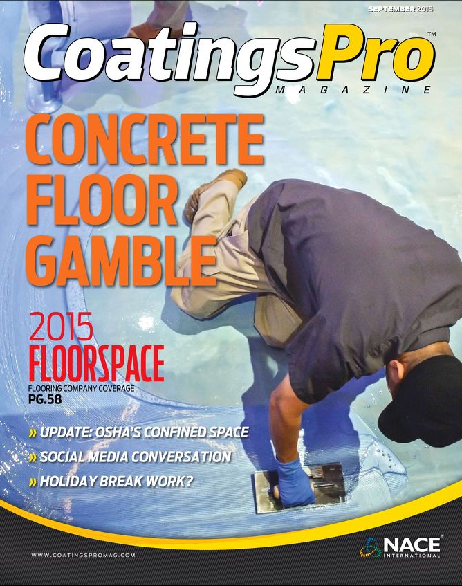 Magazine cover with workers installing new epoxy floors