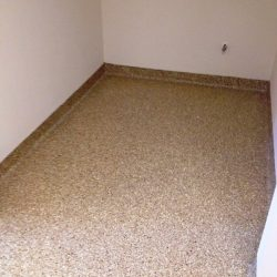 Brown speckled concrete floor